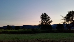 Moon at twilight, Elkins, WV