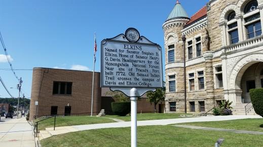 Elkins - Named for Senator Stephen B. Elkins. Home of Senator Henry G. Davis. HQ for the Monogeahela National Forest. Near site of Friend's Fort, built 1772. Old Seneca Indian Trail crosses campus of Davis and Elkins College.