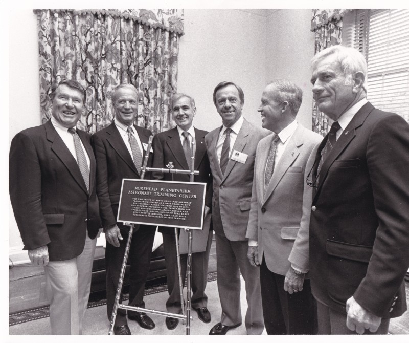 Five of the Mercury Seven return to unveil the astronaut training plaque with Tony Jenzano, second director of Morehead (third from left). Photo courtesy of Carol Jenzano
