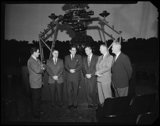 Tony Jenzano (Morehead director), Gus Grissom (Mercury 7 astronaut), Bill Friday (UNC President), Deke Slayton (Mercury 7 astronaut), James Batten (Morehead astronaut trainer), and Jim Wadsworth (Morehead astronaut trainer). Sheet Film 19213, in the University of North Carolina at Chapel Hill Photographic Laboratory Collection #P0031, North Carolina Collection Photographic Archives, The Wilson Library, University of North Carolina at Chapel Hill.