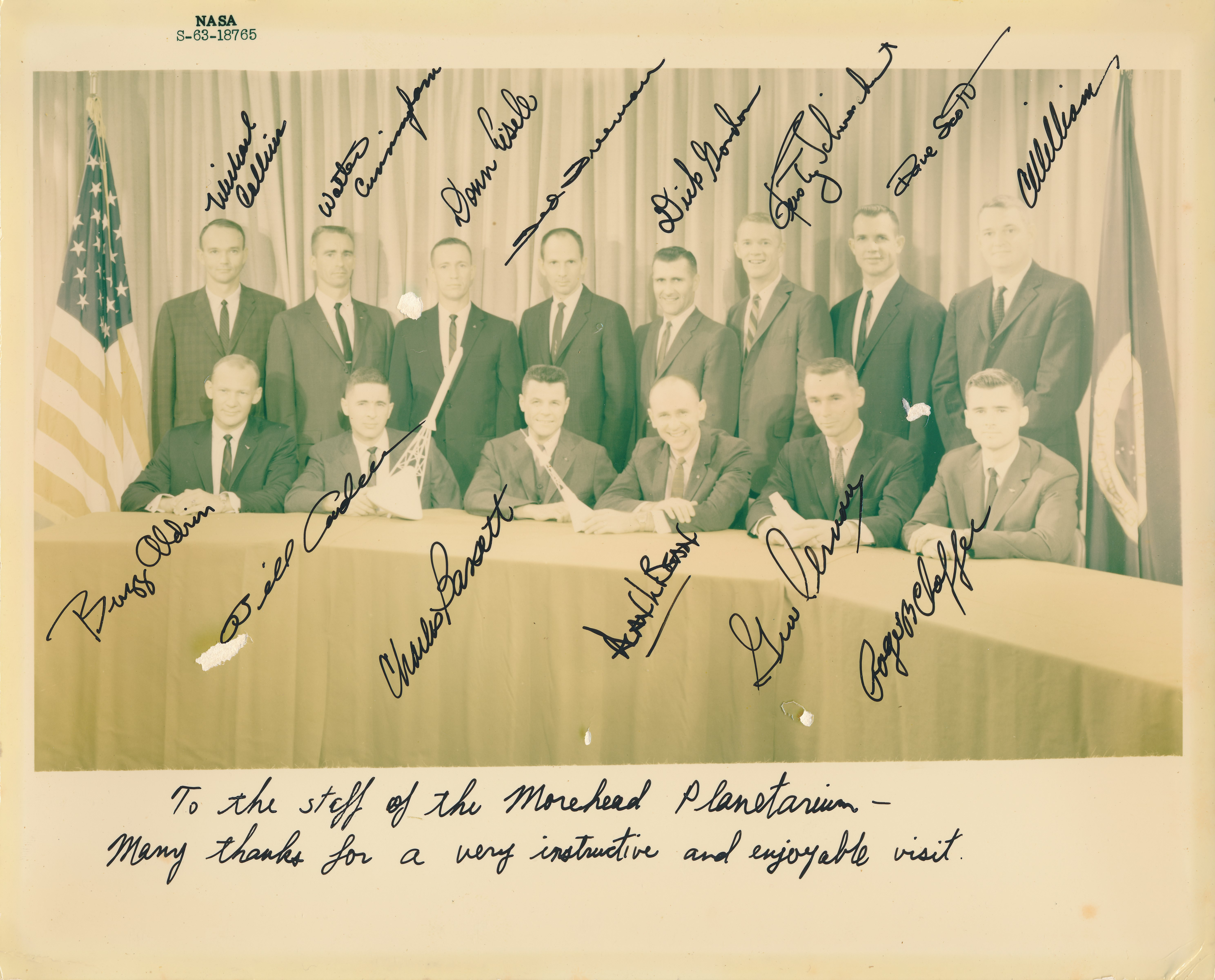 Group of 14 (NASA Astronaut Group 3) signed portrait, courtesy of the Carol CJ Jenzano collection, copyright 2018.