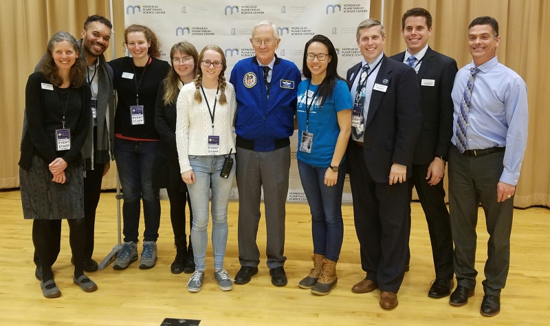 Charlie Duke with Morehead staff on February 22, 2019