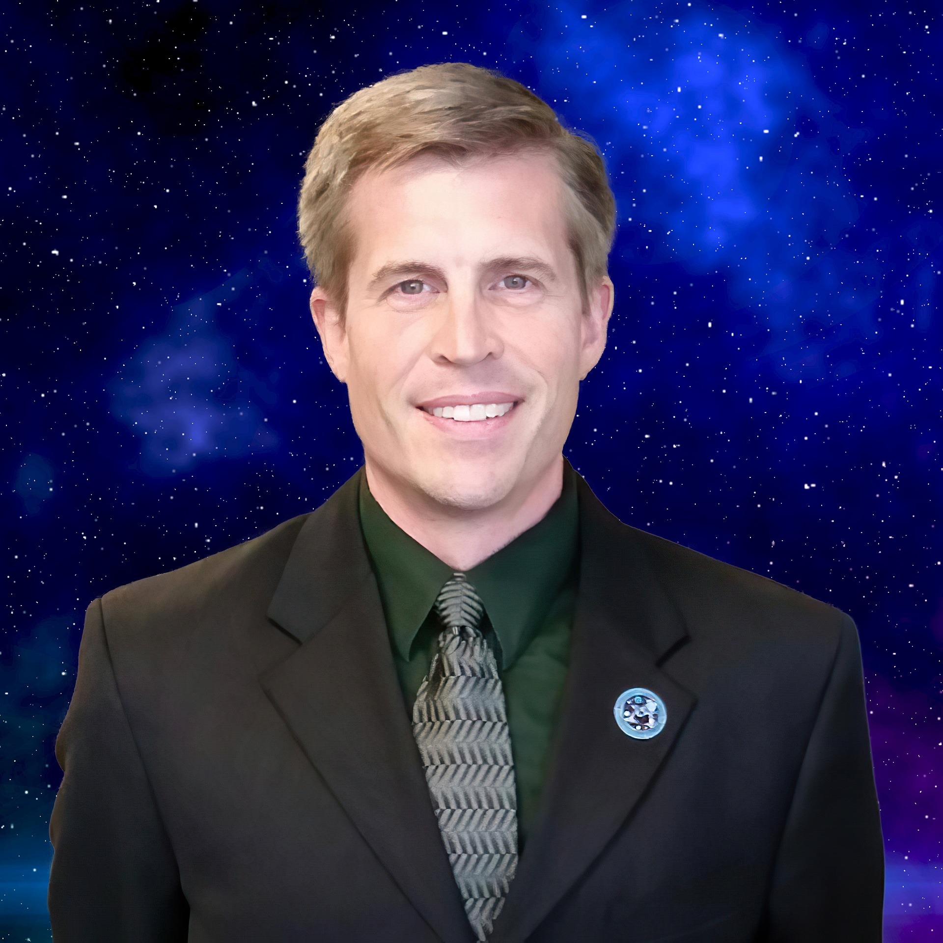 Photo of Michael G. Neece wearing a suit, smiling, with a starry background.